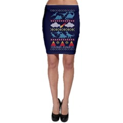 My Grandma Likes Dinosaurs Ugly Holiday Christmas Blue Background Bodycon Skirt