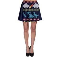 My Grandma Likes Dinosaurs Ugly Holiday Christmas Blue Background Skater Skirt