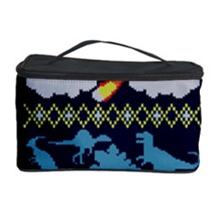 My Grandma Likes Dinosaurs Ugly Holiday Christmas Blue Background Cosmetic Storage Case