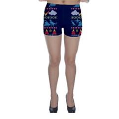 My Grandma Likes Dinosaurs Ugly Holiday Christmas Blue Background Skinny Shorts