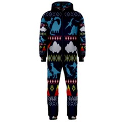 My Grandma Likes Dinosaurs Ugly Holiday Christmas Blue Background Hooded Jumpsuit (Men)