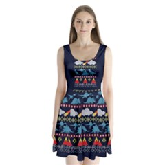 My Grandma Likes Dinosaurs Ugly Holiday Christmas Blue Background Split Back Mini Dress