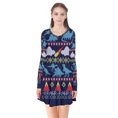 My Grandma Likes Dinosaurs Ugly Holiday Christmas Blue Background Flare Dress