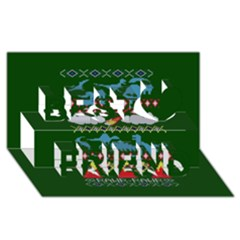 My Grandma Likes Dinosaurs Ugly Holiday Christmas Green Background Best Friends 3D Greeting Card (8x4)