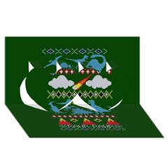 My Grandma Likes Dinosaurs Ugly Holiday Christmas Green Background Twin Hearts 3d Greeting Card (8x4)