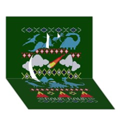 My Grandma Likes Dinosaurs Ugly Holiday Christmas Green Background Apple 3d Greeting Card (7x5)