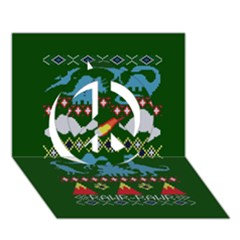 My Grandma Likes Dinosaurs Ugly Holiday Christmas Green Background Peace Sign 3d Greeting Card (7x5)
