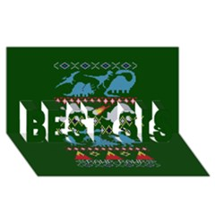 My Grandma Likes Dinosaurs Ugly Holiday Christmas Green Background Best Sis 3d Greeting Card (8x4)