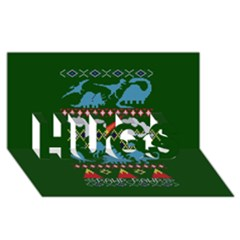 My Grandma Likes Dinosaurs Ugly Holiday Christmas Green Background Hugs 3d Greeting Card (8x4)