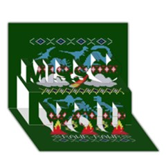 My Grandma Likes Dinosaurs Ugly Holiday Christmas Green Background Miss You 3d Greeting Card (7x5)