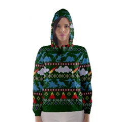 My Grandma Likes Dinosaurs Ugly Holiday Christmas Green Background Hooded Wind Breaker (Women)