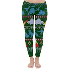 My Grandma Likes Dinosaurs Ugly Holiday Christmas Green Background Classic Winter Leggings
