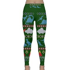My Grandma Likes Dinosaurs Ugly Holiday Christmas Green Background Classic Yoga Leggings