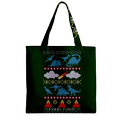 My Grandma Likes Dinosaurs Ugly Holiday Christmas Green Background Zipper Grocery Tote Bag