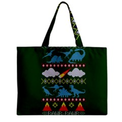 My Grandma Likes Dinosaurs Ugly Holiday Christmas Green Background Zipper Mini Tote Bag