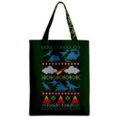 My Grandma Likes Dinosaurs Ugly Holiday Christmas Green Background Zipper Classic Tote Bag