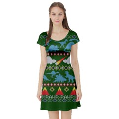 My Grandma Likes Dinosaurs Ugly Holiday Christmas Green Background Short Sleeve Skater Dress