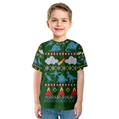 My Grandma Likes Dinosaurs Ugly Holiday Christmas Green Background Kids  Sport Mesh Tee