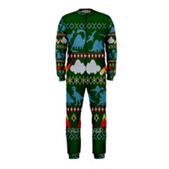 My Grandma Likes Dinosaurs Ugly Holiday Christmas Green Background OnePiece Jumpsuit (Kids)