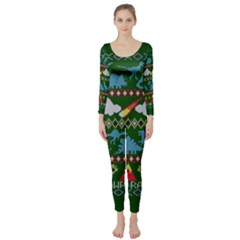 My Grandma Likes Dinosaurs Ugly Holiday Christmas Green Background Long Sleeve Catsuit