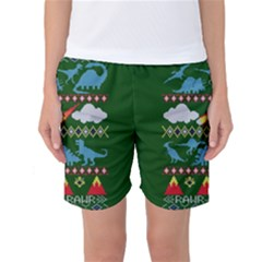 My Grandma Likes Dinosaurs Ugly Holiday Christmas Green Background Women s Basketball Shorts