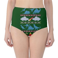 My Grandma Likes Dinosaurs Ugly Holiday Christmas Green Background High-Waist Bikini Bottoms