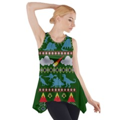 My Grandma Likes Dinosaurs Ugly Holiday Christmas Green Background Side Drop Tank Tunic