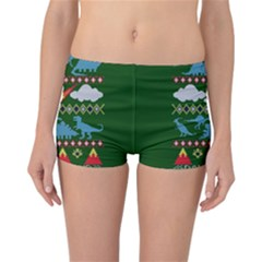My Grandma Likes Dinosaurs Ugly Holiday Christmas Green Background Reversible Boyleg Bikini Bottoms