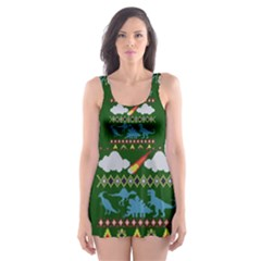 My Grandma Likes Dinosaurs Ugly Holiday Christmas Green Background Skater Dress Swimsuit