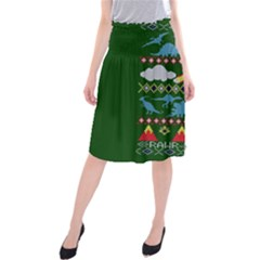 My Grandma Likes Dinosaurs Ugly Holiday Christmas Green Background Midi Beach Skirt