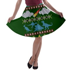 My Grandma Likes Dinosaurs Ugly Holiday Christmas Green Background A-line Skater Skirt
