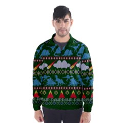 My Grandma Likes Dinosaurs Ugly Holiday Christmas Green Background Wind Breaker (Men)