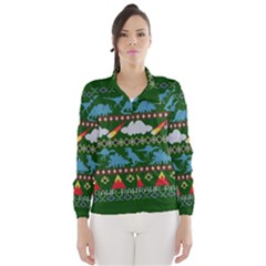 My Grandma Likes Dinosaurs Ugly Holiday Christmas Green Background Wind Breaker (Women)