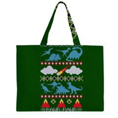 My Grandma Likes Dinosaurs Ugly Holiday Christmas Green Background Large Tote Bag