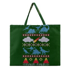 My Grandma Likes Dinosaurs Ugly Holiday Christmas Green Background Zipper Large Tote Bag