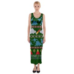 My Grandma Likes Dinosaurs Ugly Holiday Christmas Green Background Fitted Maxi Dress