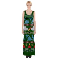 My Grandma Likes Dinosaurs Ugly Holiday Christmas Green Background Maxi Thigh Split Dress
