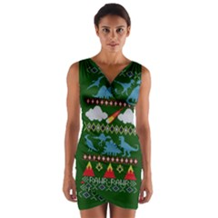 My Grandma Likes Dinosaurs Ugly Holiday Christmas Green Background Wrap Front Bodycon Dress