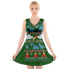 My Grandma Likes Dinosaurs Ugly Holiday Christmas Green Background V-Neck Sleeveless Skater Dress