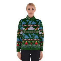 My Grandma Likes Dinosaurs Ugly Holiday Christmas Green Background Winterwear