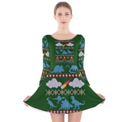 My Grandma Likes Dinosaurs Ugly Holiday Christmas Green Background Long Sleeve Velvet Skater Dress