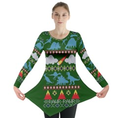 My Grandma Likes Dinosaurs Ugly Holiday Christmas Green Background Long Sleeve Tunic