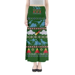 My Grandma Likes Dinosaurs Ugly Holiday Christmas Green Background Maxi Skirts
