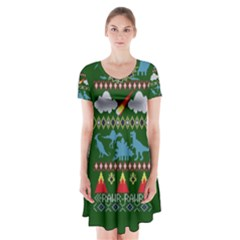My Grandma Likes Dinosaurs Ugly Holiday Christmas Green Background Short Sleeve V-neck Flare Dress
