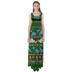 My Grandma Likes Dinosaurs Ugly Holiday Christmas Green Background Empire Waist Maxi Dress