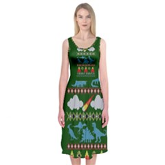 My Grandma Likes Dinosaurs Ugly Holiday Christmas Green Background Midi Sleeveless Dress