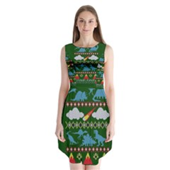 My Grandma Likes Dinosaurs Ugly Holiday Christmas Green Background Sleeveless Chiffon Dress