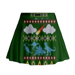 My Grandma Likes Dinosaurs Ugly Holiday Christmas Green Background Mini Flare Skirt