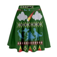 My Grandma Likes Dinosaurs Ugly Holiday Christmas Green Background High Waist Skirt