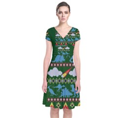 My Grandma Likes Dinosaurs Ugly Holiday Christmas Green Background Short Sleeve Front Wrap Dress